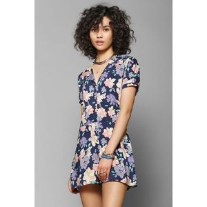 Urban Outfitters Floral Button-Down Collar Romper